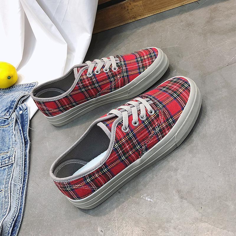 2020 chaussures de toile de printemps des femmes et l'été 2018 nouvelles coréenne rétro chaussures Plaid dentelle étudiant en ooerg