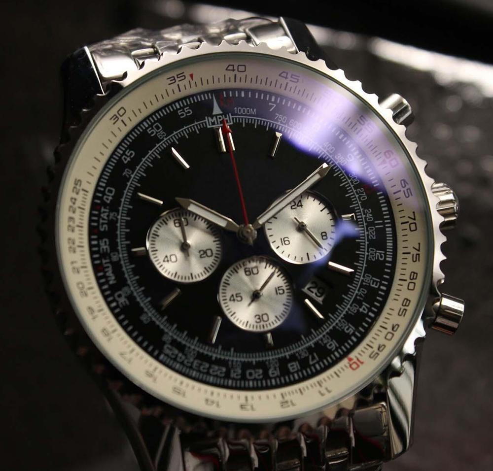 2020 أعلى ساعات جديدة ساعات مونتبريلانت كوارتز كرونوغراف 46 ملليمتر الأسود الهاتفي 316L الفضة الصلب حزام الياقوت الصلبة حزام رجل الرياضة الساعات