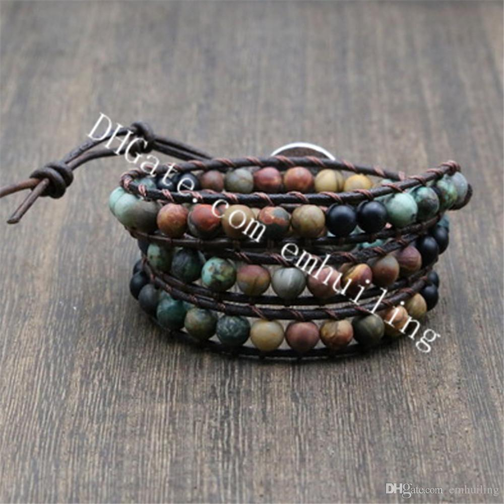 10Pcs Boho Stackable Bracelet 3 Rows African Turquoise Gemstone Beads Leather Wrap Bracelet with Love Heart Button,Nature Inspired Jewelry