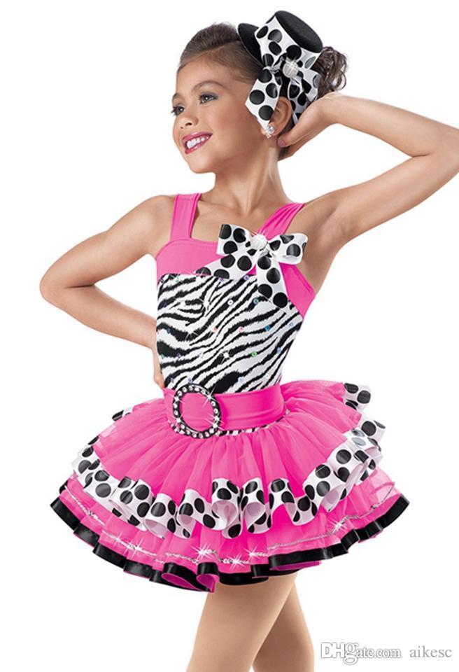 Rojo cebra patrón niña Ballet vestido niño gasa gimnasia leotardo niñas niños vestido profesional Tutus danza leotardo traje L159