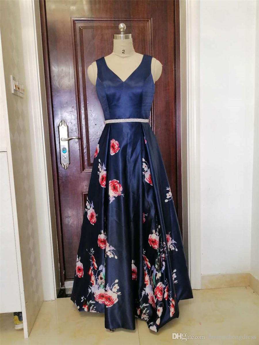 2019 Nueva moda Vestidos de noche Vestidos formales Floral Sexy espalda abierta Una línea Vestido largo formal Fiesta de fiesta Vestidos de noche