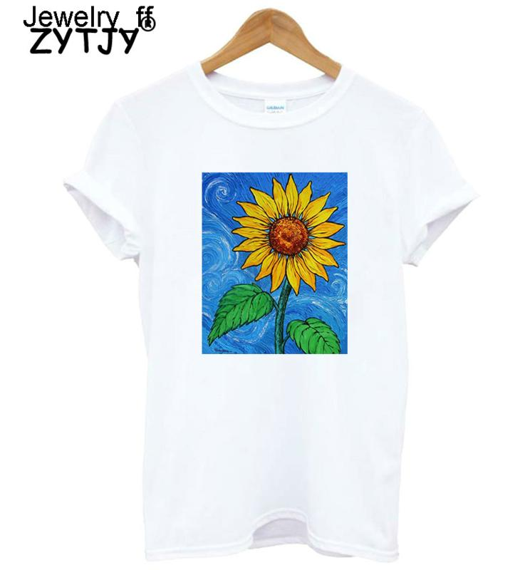 Sunflower Print Women Tshirt Cotton Casual Funny T Shirt For Lady Girl Top Tee Hipster Drop Ship T-shirt Wholesale