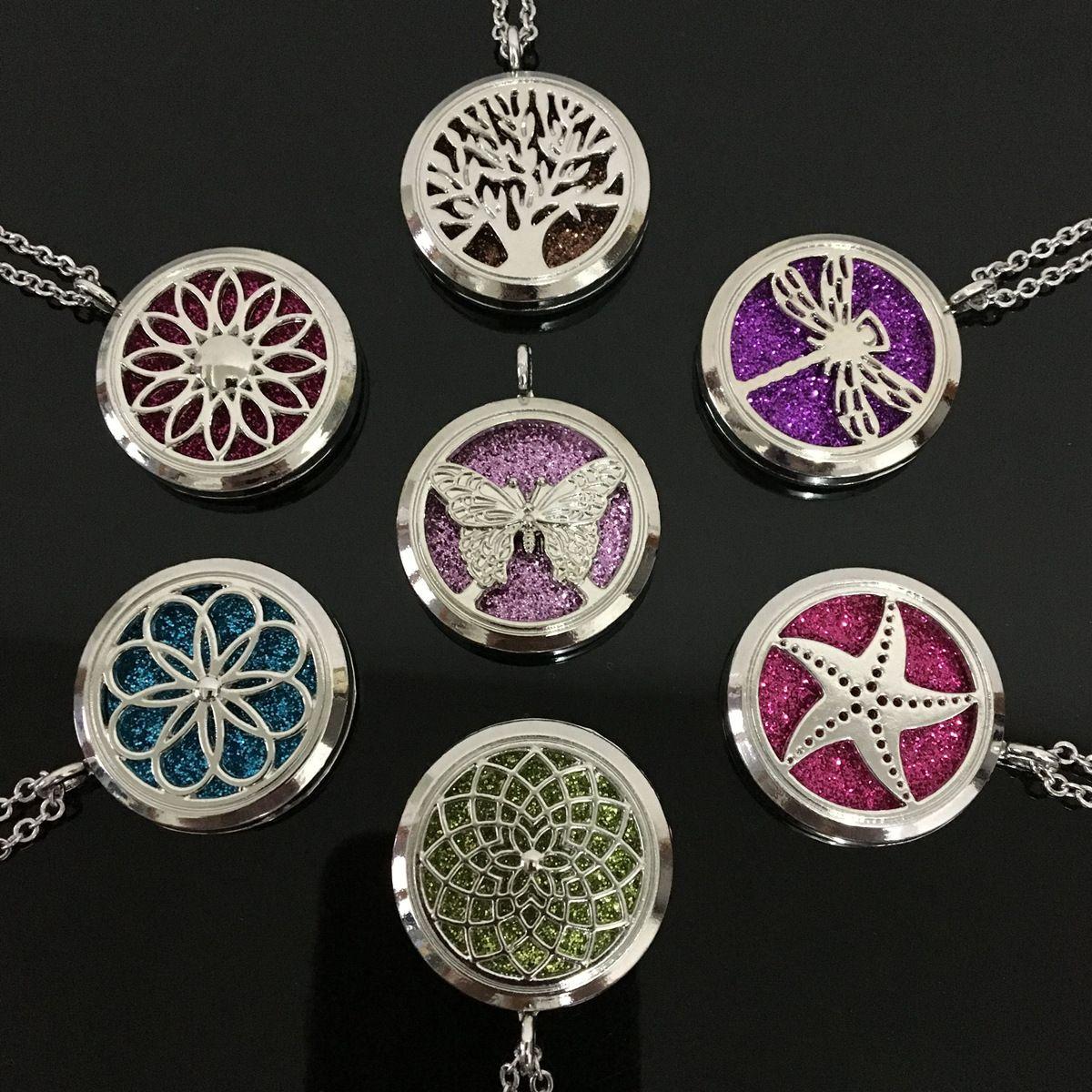 Locket Essential Oil Diffuser Halskette Arbeiten Sie Edelstahl-Aromatherapie-Baum des Lebens Blume Tier Halskette Schmuck Geschenk