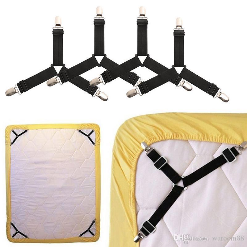 탄성 침대 시트 그리퍼는 매트리스 커버 담요 홀더 패스너 미끄럼 방지 벨트 클립 홈 섬유 가제트 4 개 / 세트 클립