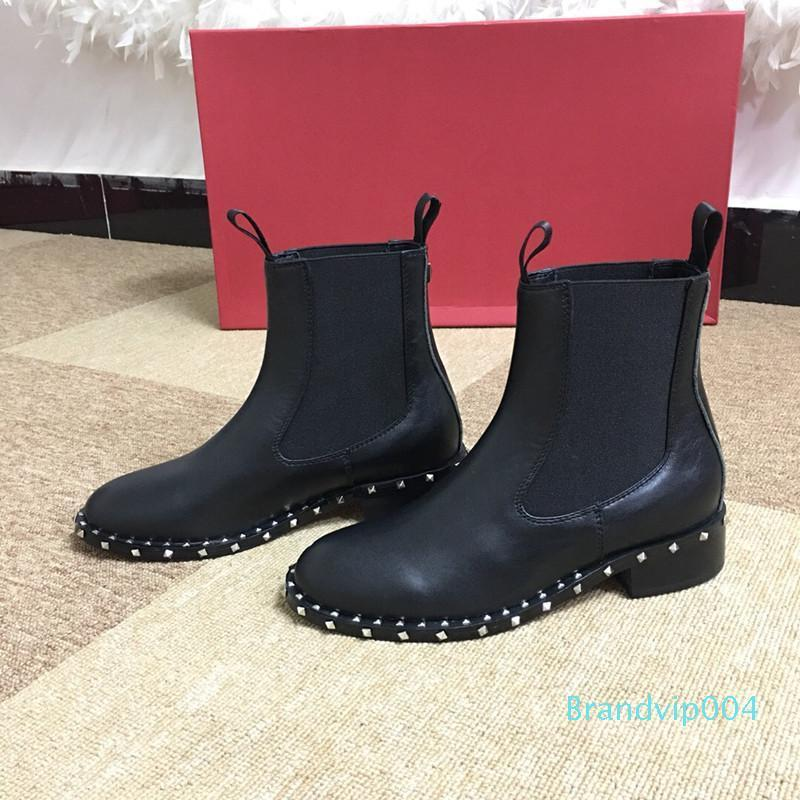 Hot Sale-Fashion leather star women shoes woman leather short autumn winter ankle designer fashion brand women shoes fgc19082412