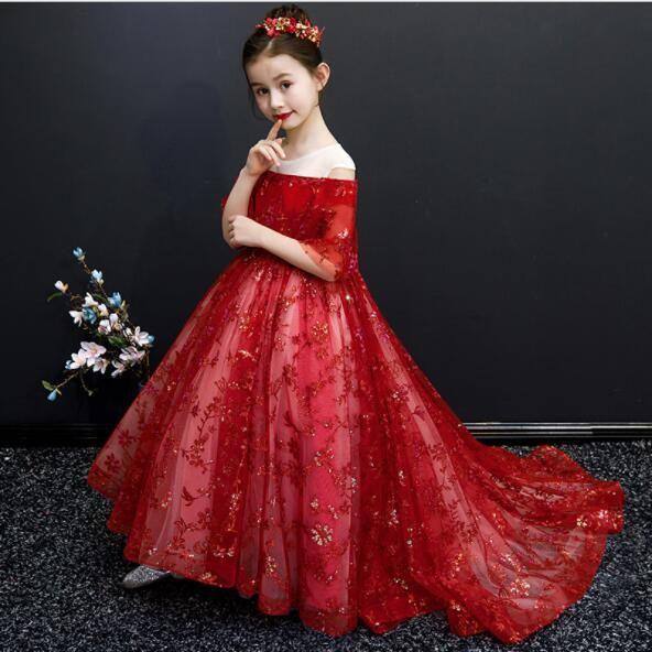 2019 New lange schleppendes Blume-Mädchen-Prinzessin Dress-Geburtstags-Party Hochzeit Ballkleid Mädchen-formales Kleid Kinder Erstkommunion Kleid