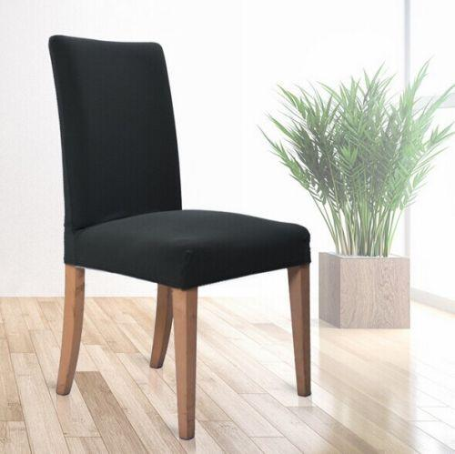 Universal Stretch Dining Room Chair Slipcover Stool Cover Dark Gray Color