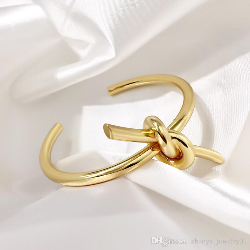 luxury designer jewelry women bracelets all-metal knotted bracelet women's simple bracelet jewelry screw bracelet ginger snap jewelry