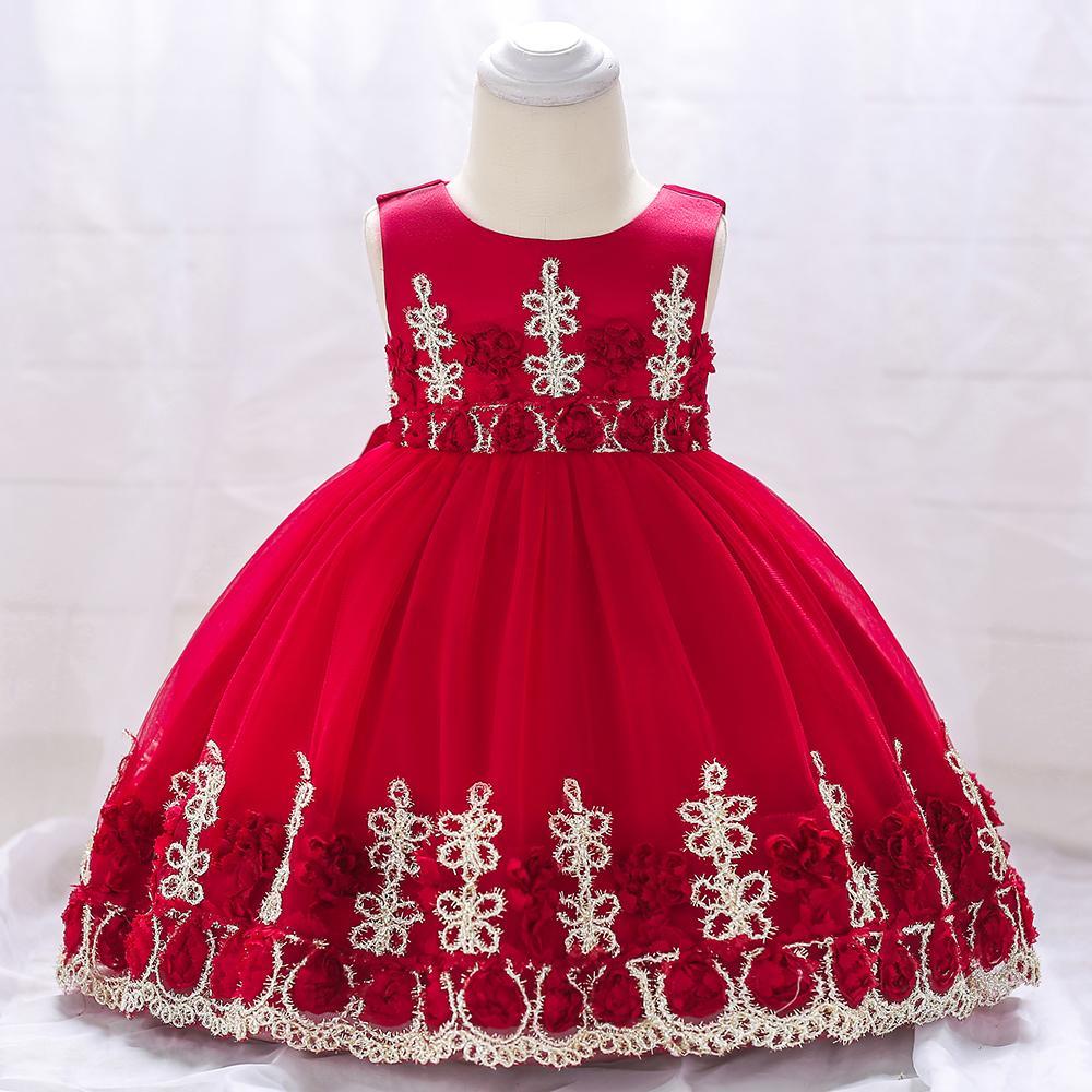 Розничная 2019 бальное Baby Girl Birthday Party платья с цветком Крещение платье принцессы Свадебное платье для девочек L1837xz Y19050801