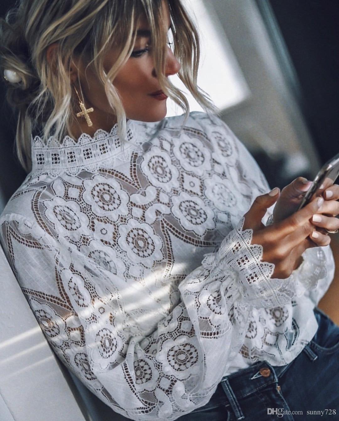 2019 el último Elgant blanco encaje mujeres blusa camisetas cuello alto mangas largas ver a través del patrón floral moda OL Top Teee camiseta ocasional
