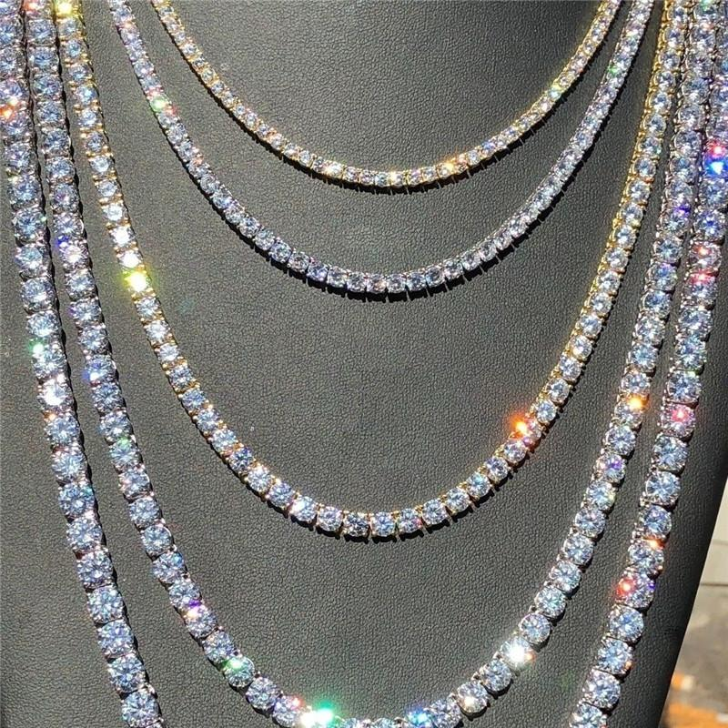 2020 الهيب هوب حجر الراين تنس سلسلة قلادة الرجال النساء الذهب والفضة خارج سلسلة ربط قلادة مجوهرات رجالي 6MM تنس سلسلة