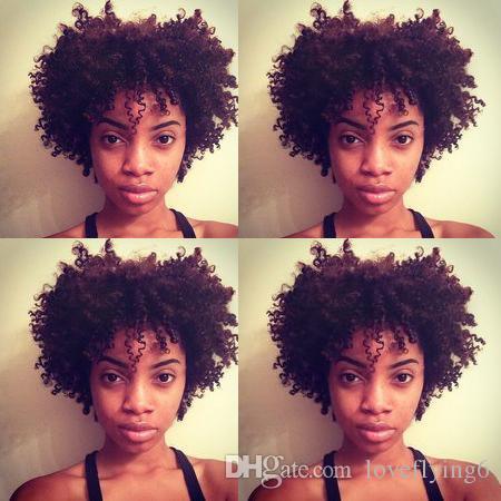 las mujeres calientes peinado suave brasileño de color negro de pelo corto rizado peluca rizada Simulación del cabello humano peluca corta rizada con la explosión
