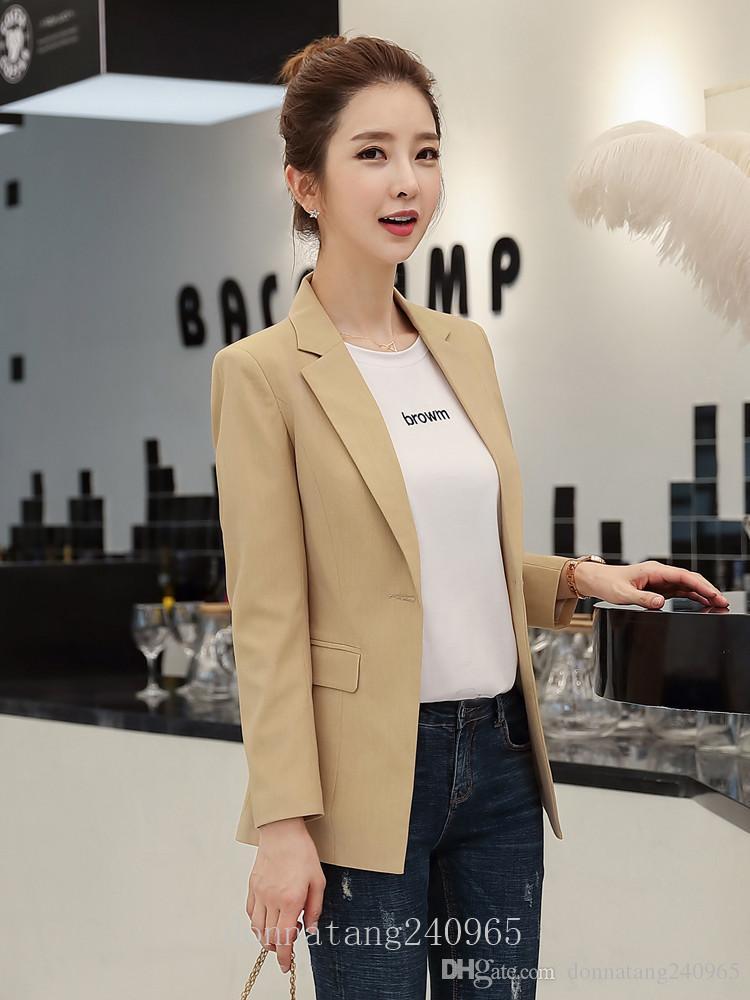 BS1985 Women's suit Blazers jacket female loose Single-breasted jacket Coat womens blazers Office lady work Overalls blazer