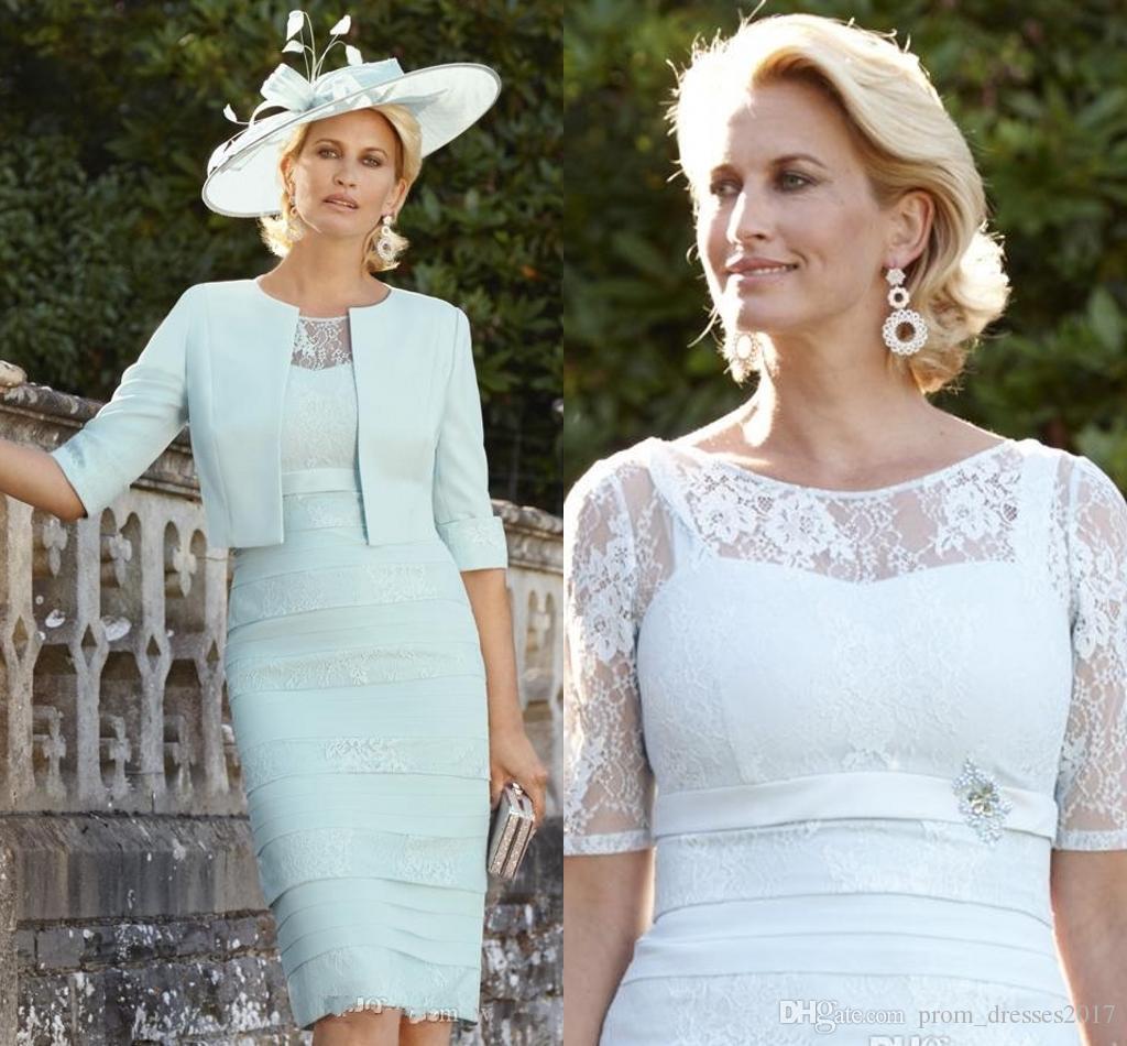 2020 Verde Renda Mãe da Noiva Vestidos com meia manga Tiered Wedding Dress Visitante joelho Plus Size Jacket mães noivo vestido
