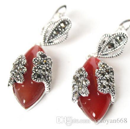 연인들 여성 좋은 VINTAGE NATURAL RED 스톤 MARCASITE 925 STERLING SILVER DANGLE EARRINGS 925 실버 주얼리 보석