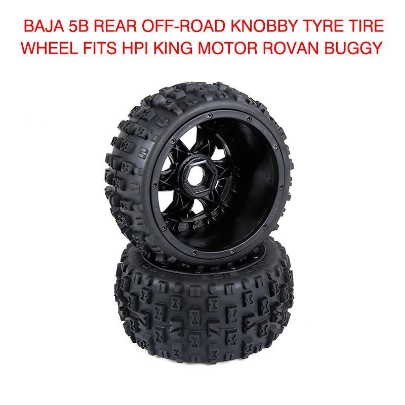 Pneus pcmos Rodas Baja 5B traseira Off-road Knobby Tire do pneu da roda se encaixa para HPI Corrida de Rei Motor Rovan Buggy 2019 Pneus Novos 2pcs