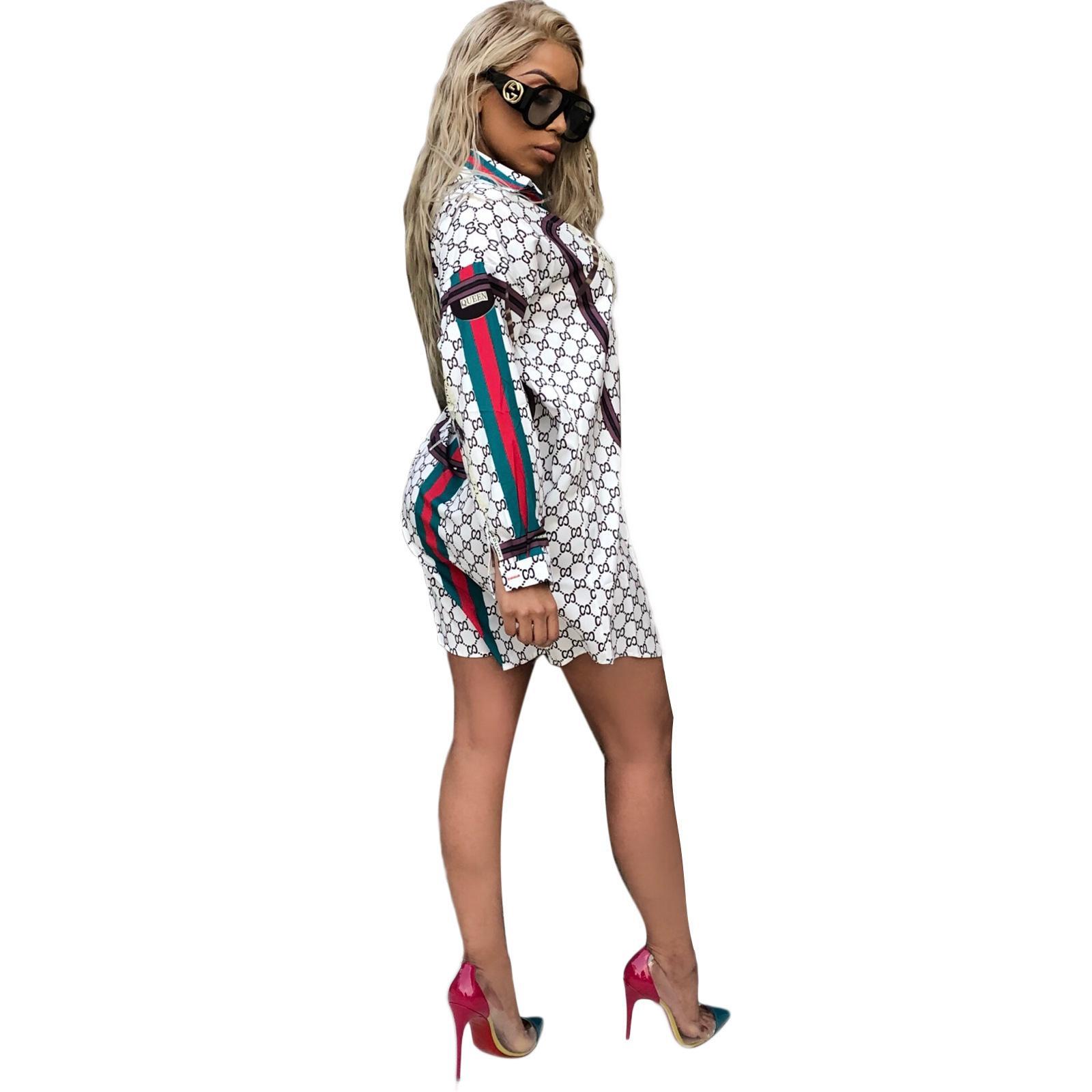 Платья для Laday печати повседневная мода отворот шеи рубашка Платье с длинным рукавом лето мини-платье дамы сексуальные юбки S-2XL размер