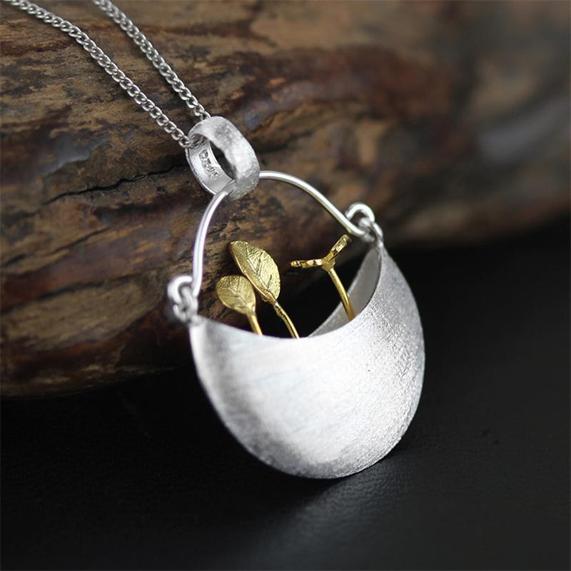 In Argento sterling 925 My Little Garden Collana Pendente per le donne Gioielli di moda Bijoux Y19061703