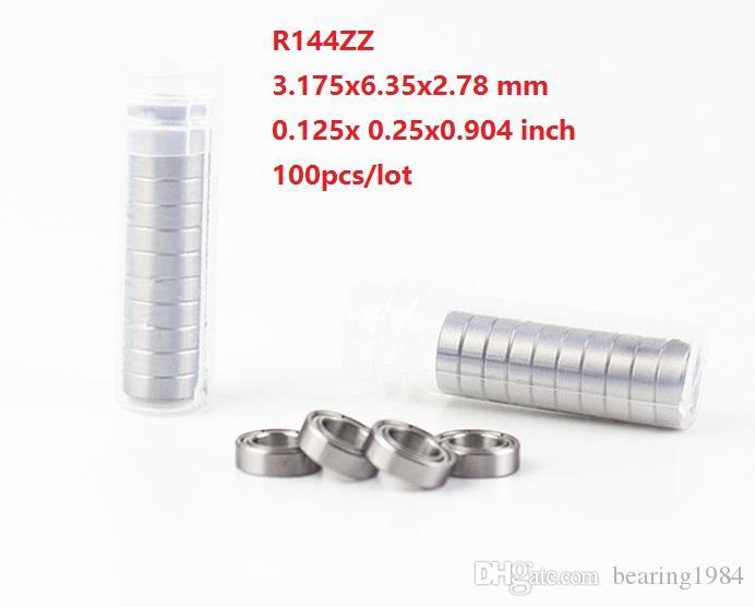"""100pcs / lot 무료 배송 R144ZZ R144 ZZ 볼 베어링 1/8 """"x 1/4""""x 7/64 """"인치 깊은 그루브 볼 베어링 3.175x6.35x2.78 mm 144ZZ"""