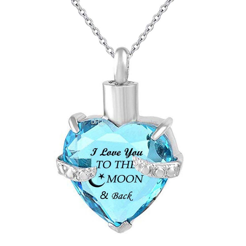 Heart Crystal Cremation Urn Necklace for Ashes June Birthstone Love You More Memorial Pendant