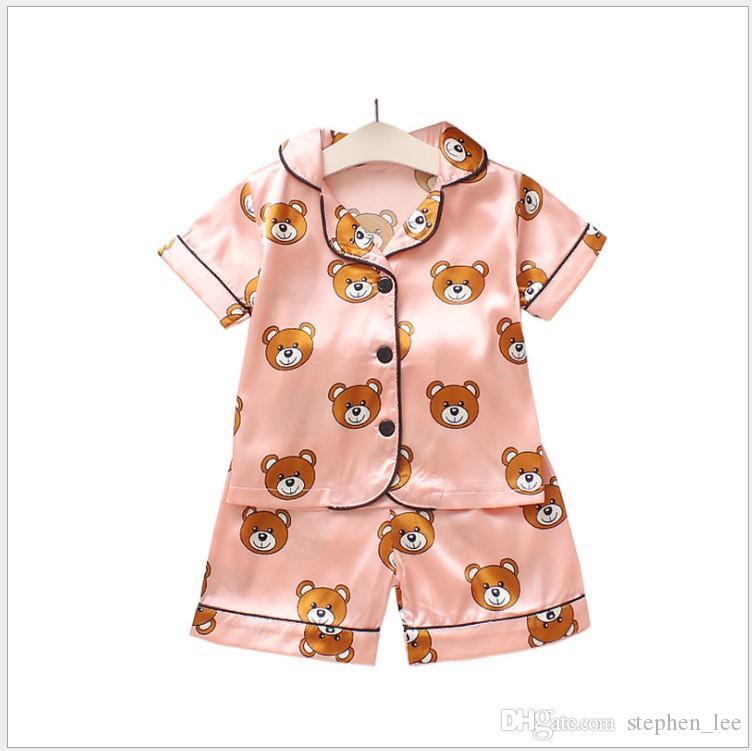 2019 뉴 여름 아동 잠옷 세트 소년 소녀 만화 베어 홈웨어 아동 양복 세트 반팔 슈즈 아동 의류 소매