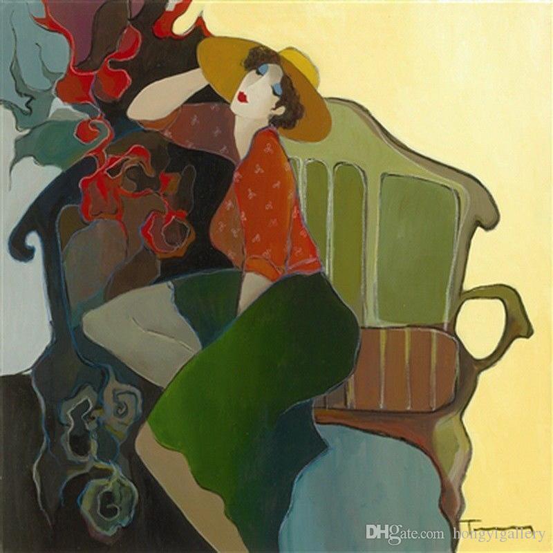Itzchak Tarkay huile Peinture à l'huile Reproduction Œuvres d'art à la main sur la toile de la mode moderne Figure Lady Femme Vase Accueil Salon Décor IT1010