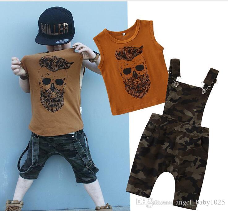 2019 nouveaux vêtements pour enfants chemise d'été sans manches style européen et américain pour garçon + jarretelles de camouflage costume deux pièces
