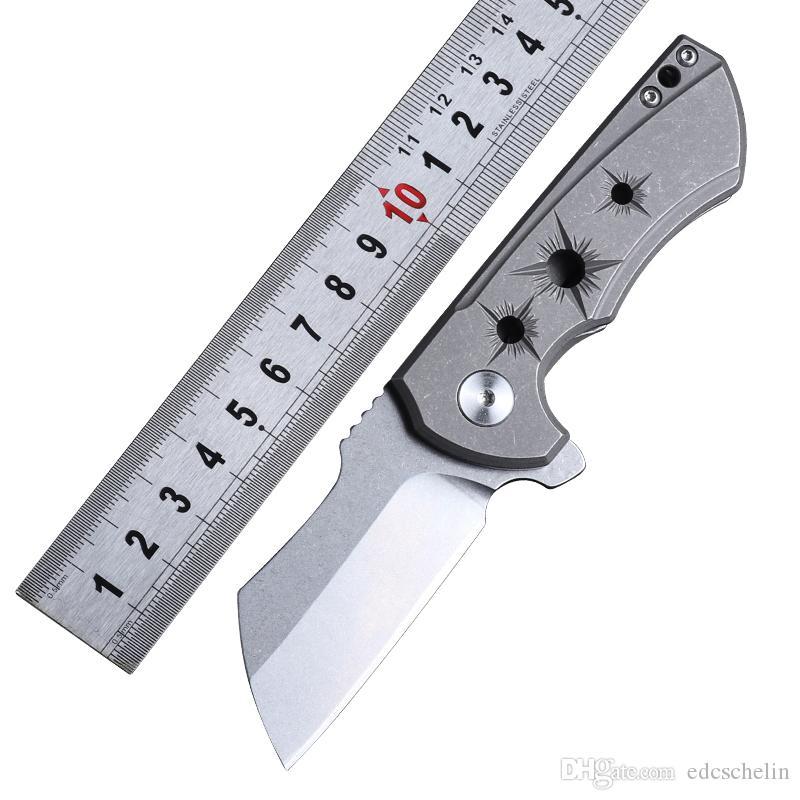 Caneta de bolso TC4 Titanium Handle CNC processo D2 lâmina faca dobrável EDC ferramentas de sobrevivência ao ar livre multi facas facas táticas de alta qualidade