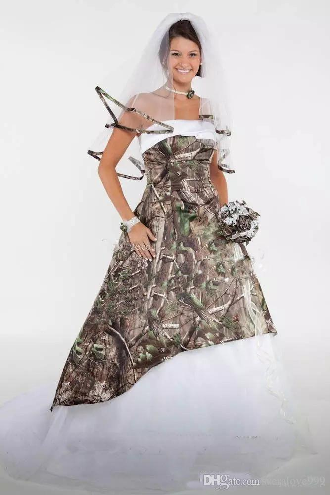 Discount 2019 Camo Wedding Dresses Satin Country Cowgirls Bridal Dresses  Sweep Train Plus Size Camouflage Wedding Dresses Corset Lace Up Wedding ...