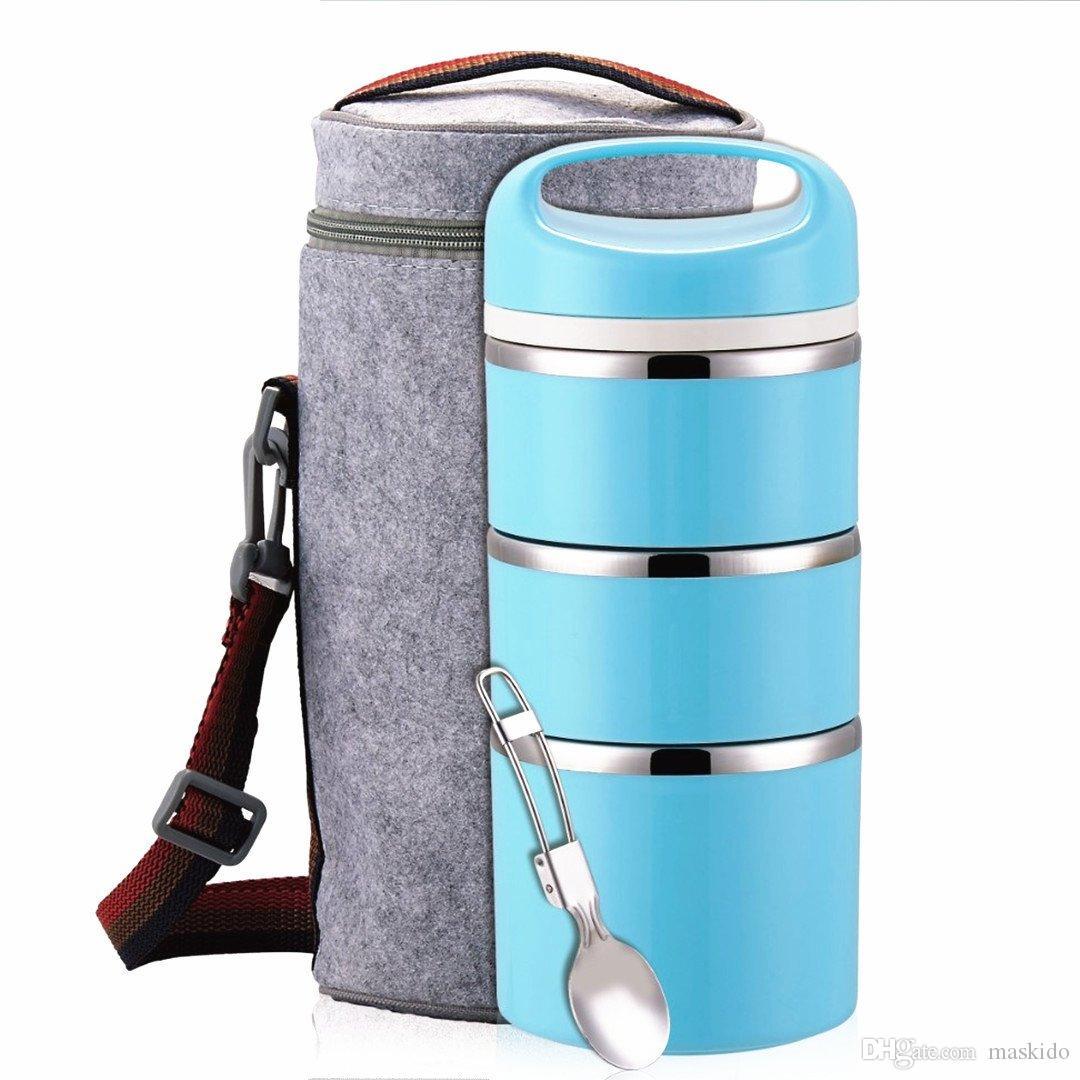 Início empilhável aço inoxidável Compartimento térmica Lunch Box   3-Tier Duplas Bento Box / Food Container com almoço Duplas Bag