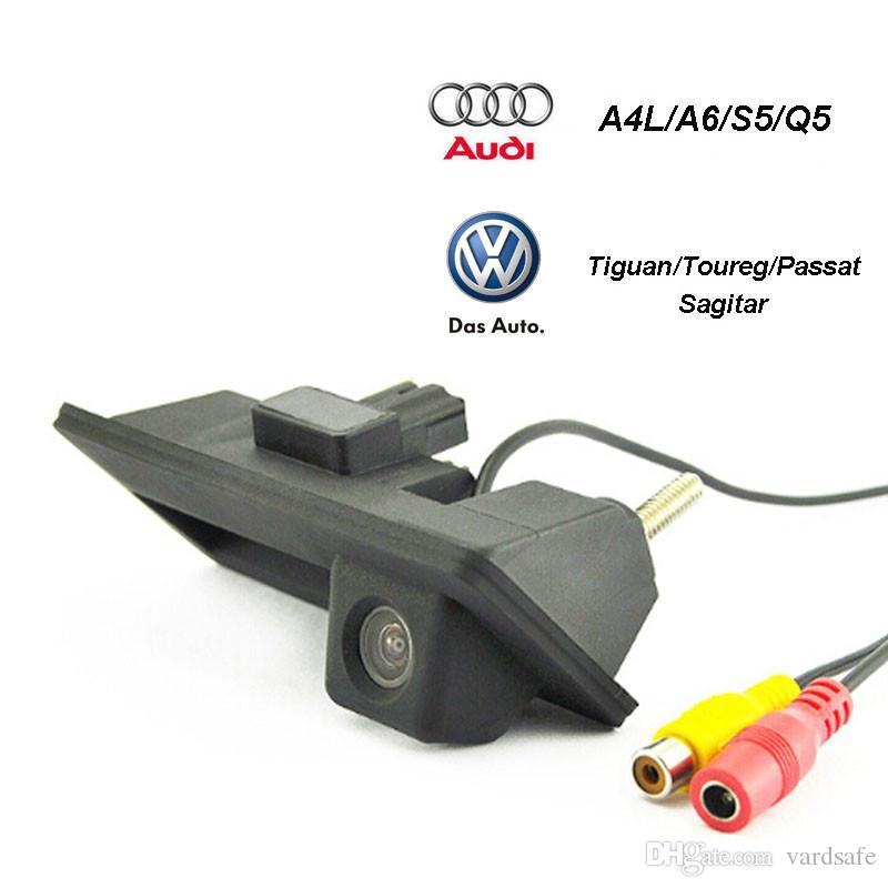 HD CCD Car Rear view Backup Reverse Camera Handle button for Audi/VW/Skoda/Passat/Tiguan/Golf/Touran/Toureg/Sharan/A4L/S5/Q3/Q5/A8L