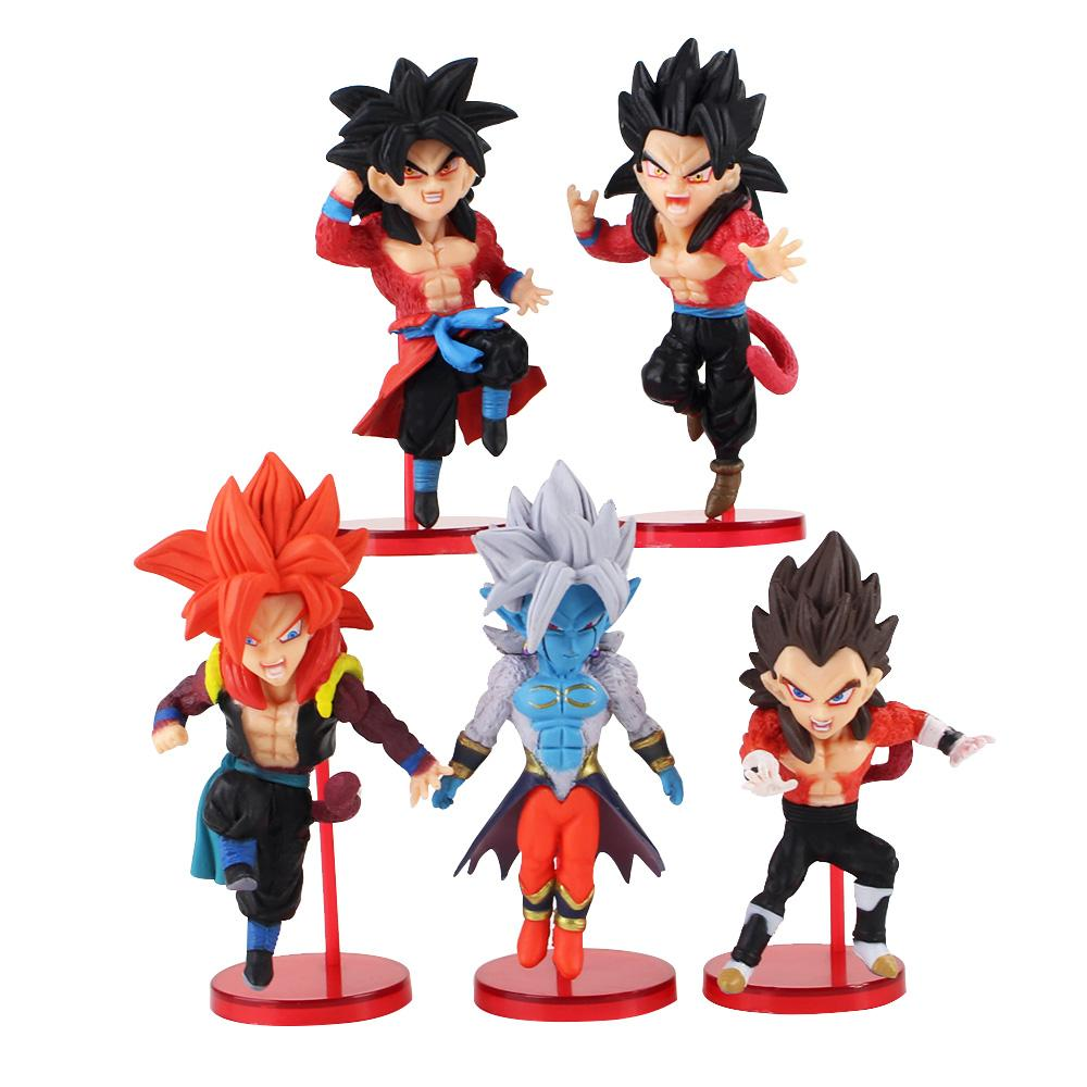 5pcs / set Dragon Ball WCF super Dragonball Heroes Super Saiyan 4 Son Goku Gohan Vegeta Gogeta action Figure Jouets