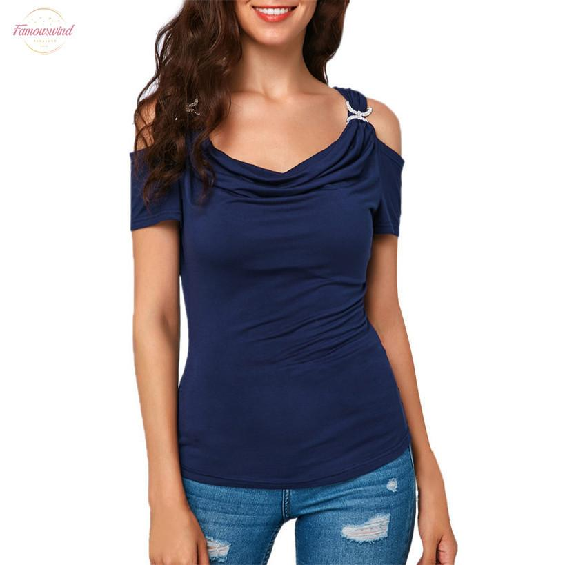 С Плеча Женская Блузка Повседневная Модная Рубашка Женская Летняя Драпированная Рубашка С Воротником Женская Однотонная Блузка Большого Размера С Короткими Рукавами