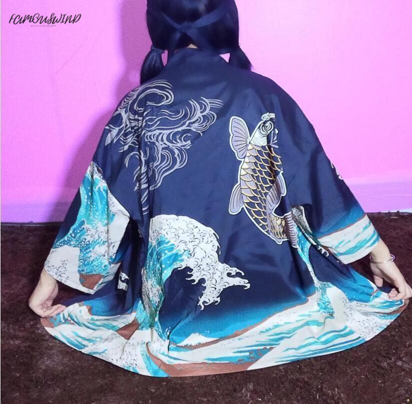 봄 여름 격자 무늬 새로운 스타일의 기모노 웨이브 인쇄 물고기 카디건 셔츠 드롭 배송 좋은 품질