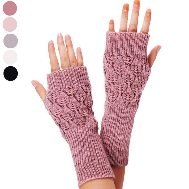 Теплые Вязаные Перчатки Без Пальцев Горячие Выдалбливают Листья Длинная Секция Зима Длинная Вязка Без Пальцев Шерсть