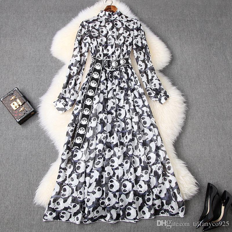 2020 весна лето длинный рукав вокруг шеи Contrast Color Panda Печать Belted Длинные платья макси вскользь платья LJ28T10613