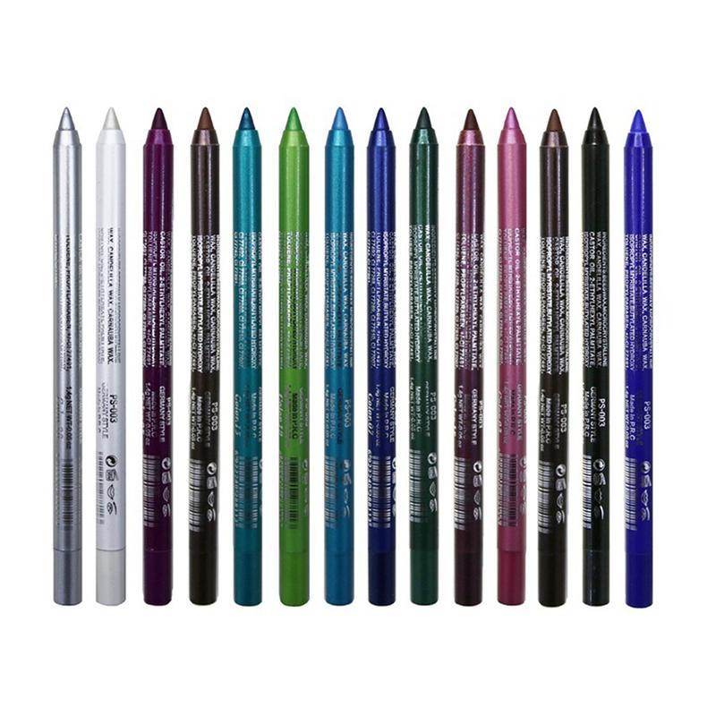 العلامة التجارية 14 الألوان قلم كحل للماء وميض لامع ظلال العيون اينر المكياج أدوات التجميل عينيه القلم طويلة الأمد