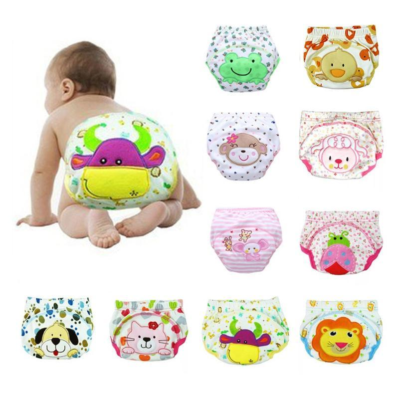 Baby Cloth Diaper Cotton Training Pants Panties Diapers Cartoon Print Reusable Nappies Underwear Washable Diapers Pañales