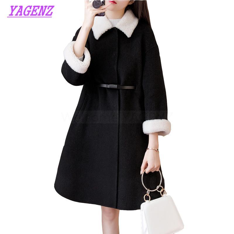 Più il formato S-3XL mantello di lana Giacca autunno inverno coreano delle donne cappotto di lana temperamento Lunga giovani Donne Nero allentato cappotto B362