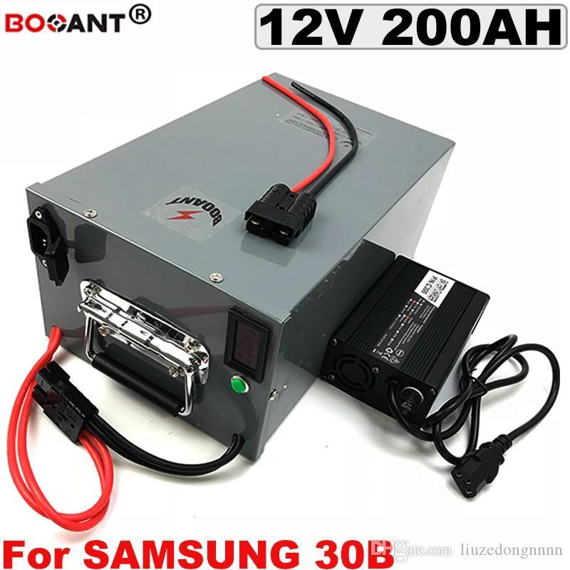 Batterie au lithium rechargeable 12V 200AH pour Samsung 30B Batterie de scooter électrique 12V 250W pour système d'alimentation solaire avec chargeur 10A