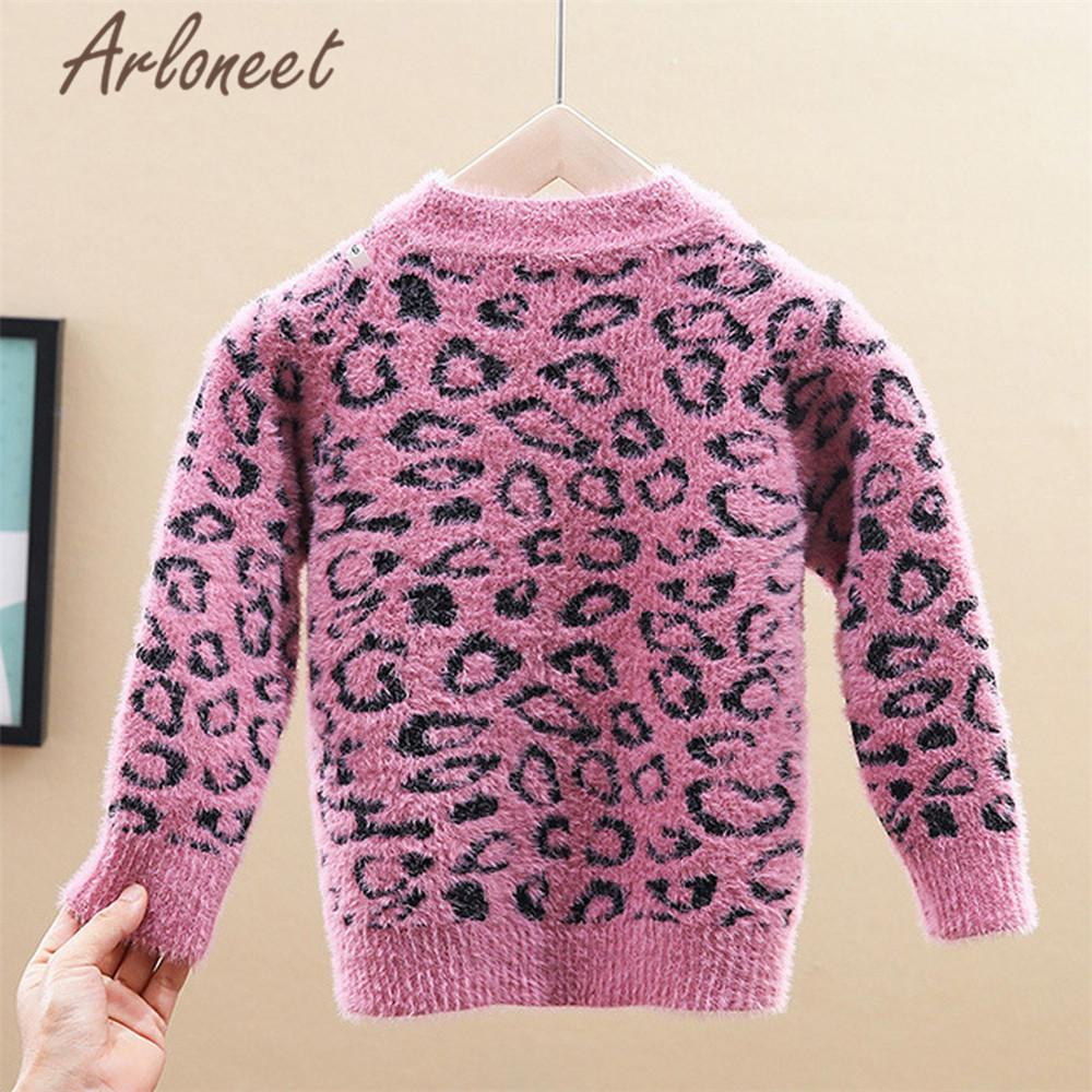 ARLONEET Clothes Baby Girls Cardigan Sweater Knitted Leopard Print Button Outerwear Tops Baby Girl Sweater Winter Cotton Jacket