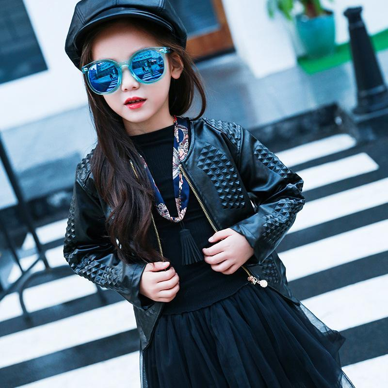3-12Y мода красный черный 2017 весна с длинным рукавом пальто дети большие девочки куртка искусственная кожа девушка куртка Детская верхняя одежда