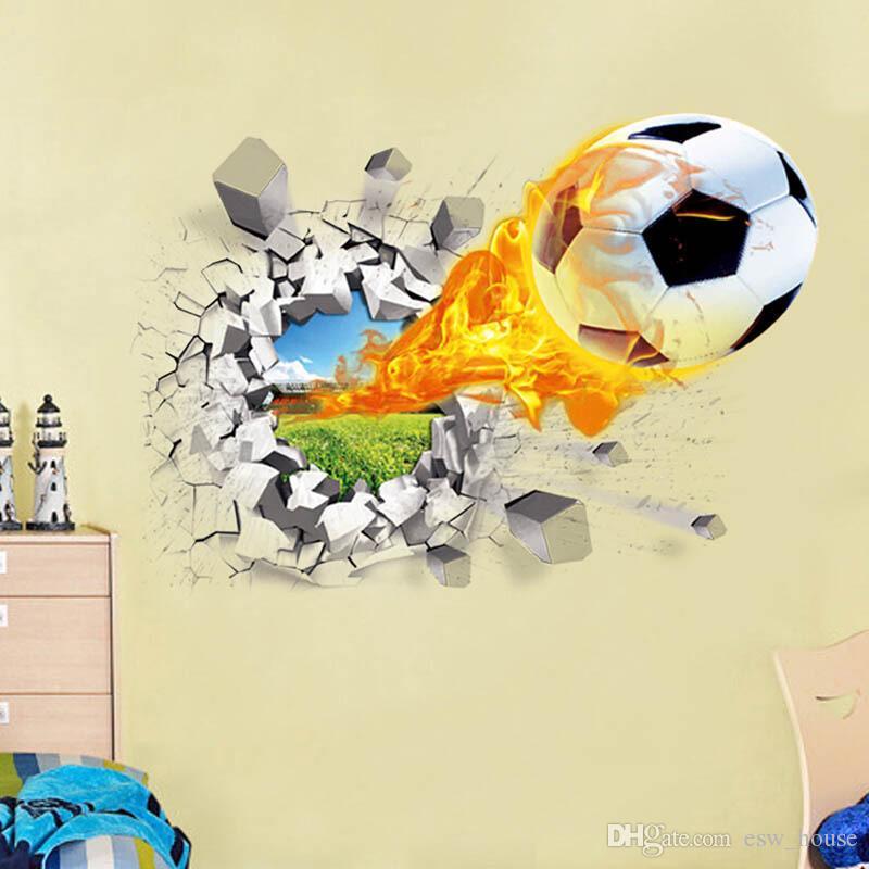 Grosshandel 3d Feuer Fussball Wandaufkleber Weltmeisterschaft Fussball Fans Liebhaber Kinderzimmer Dekoration Fussball Club Dekoration Wandaufkleber Von
