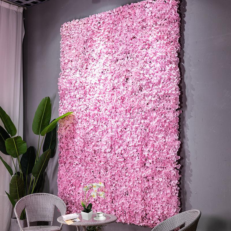 6 PC / flor de la decoración de la pared del fondo del partido de la boda accesorios de pared de seda de flores de hortensia artificiales de San Valentín