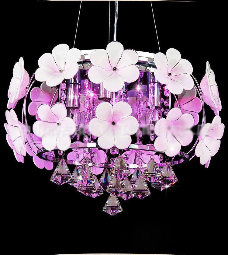 현대 LED 크리스탈 펜던트는 실내 조명 램프 식사 간단한 천장 조명 수제 꽃잎 샹들리에 침실 조명을 점등