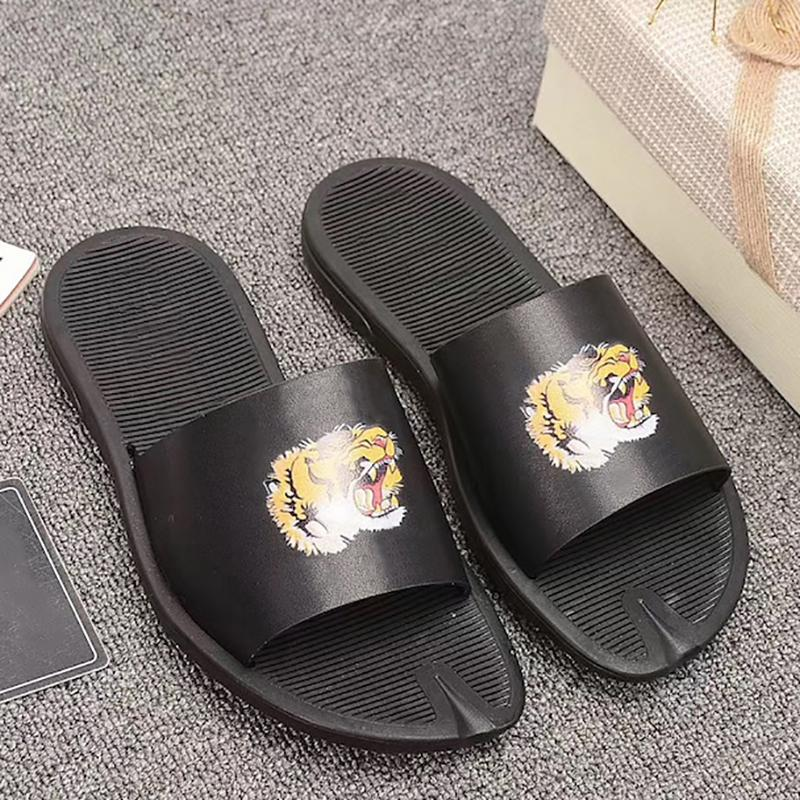 Hommes Femmes Fleur psychédélique Slides Sandal Noir en cuir vert triple Sandales plates antidérapantes Bottom Summer Beach Slipper Designer Shoes