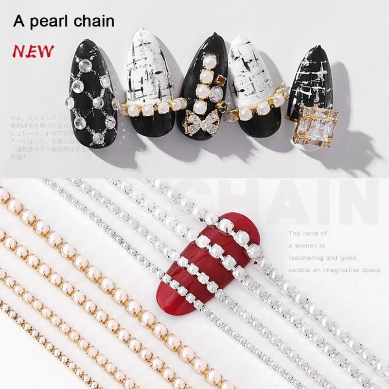 Catena Art Gold Base Pearl Jewelry 25 CM lucido Nail zircone catena Nail fototerapia ornamento di arte della decorazione fai da te