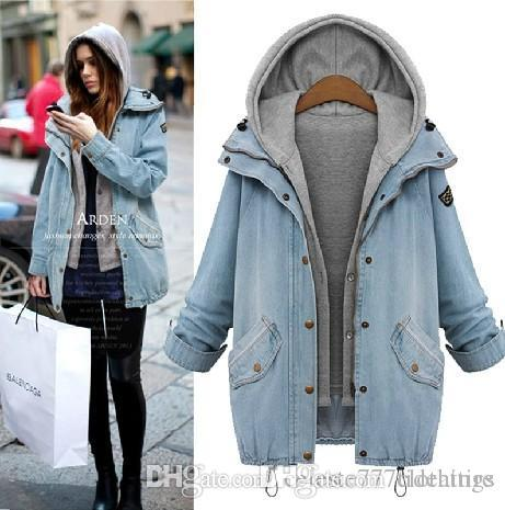 Women Denim Jacket Washed Blue Retro fashion Hood Cowboy Jackets Jean female Outwear Jaqueta Bomber Abrigos Mujer Veste Windbreaker Coat