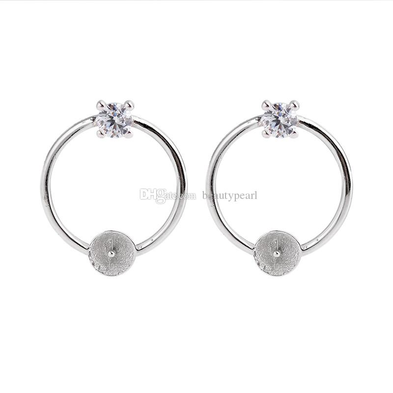 Circle Earring Pearl Mountings 925 Sterling Silver Set Prongs Round Cut Clear White Zircon 5 Pairs