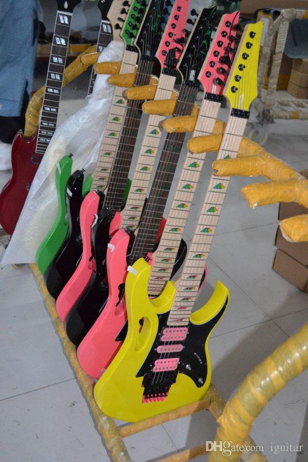 NEW JEM 7V Green Electric Guitar Yellow Pink Black HSH Pickups Tremolo Bridge Electric Guitars Pyramid inlay black hardware